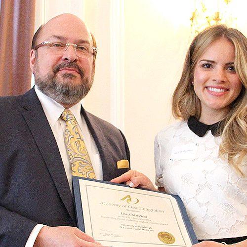 Dr. Steven J. Kukunas, Clinical Assistant Professor, Department of Prosthodontics, Lisa A. MacPhail, awardee, University of Pittsburgh, School of Dental Medicine